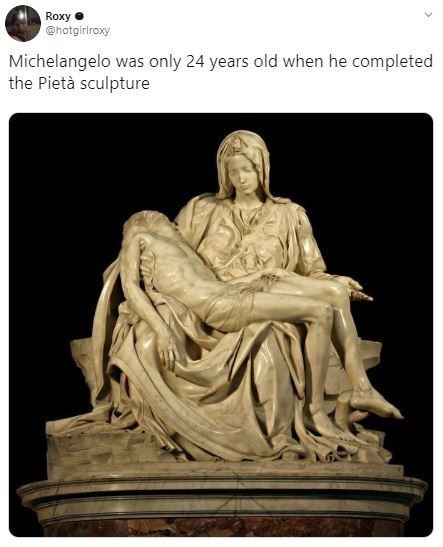 Statue - Roxy @hotgirlroxy Michelangelo was only 24 years old when he completed the Pietà sculpture