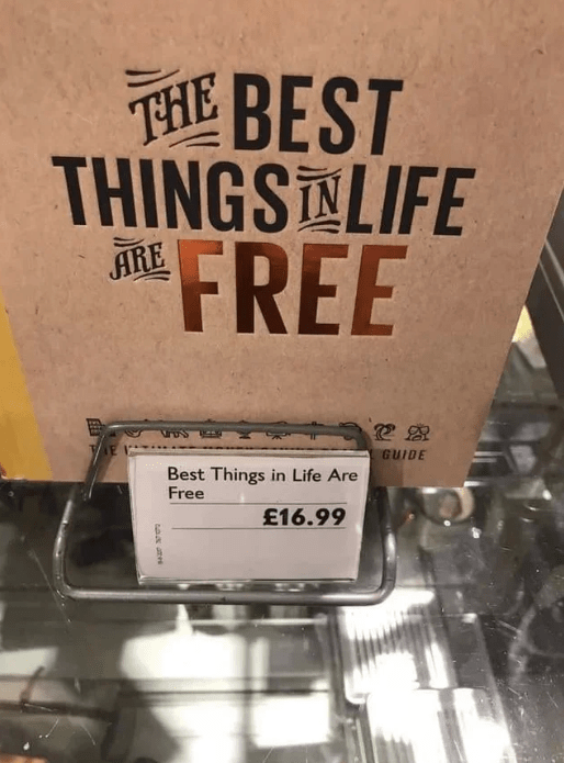 Text - THE THINGS LIFE FREE 诞BEST ARE GUIDE Best Things in Life Are Free £16.99