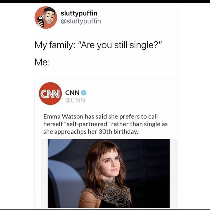 """Text - sluttypuffin @sluttypuffin My family: """"Are you still single?"""" Мe: CN CNN @CNN Emma Watson has said she prefers to call herself """"self-partnered"""" rather than single as she approaches her 30th birthday."""