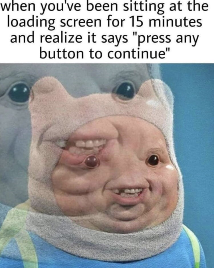 """Facial expression - when you've been sitting at the loading screen for 15 minutes and realize it says """"press any button to continue"""""""