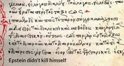 Text - Vieuru, tepi Tenyai SaueGryTesc csempp Toas iTopo Topouwoy xa pe Goy GT ay Epstein didn't kill himself
