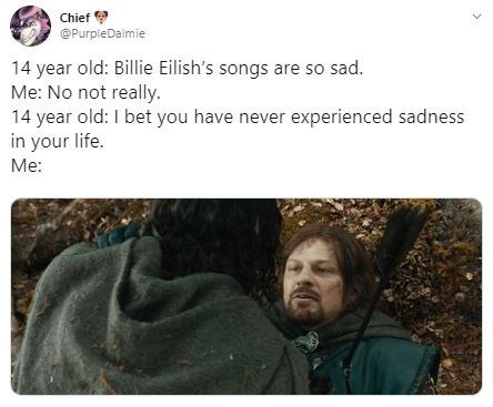 Text - Chief @PurpleDalmie 14 year old: Billie Eilish's songs are so sad. Me: No not really. 14 year old: I bet you have never experienced sadness in your life. Me: