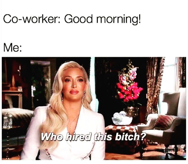 Hair - Co-worker: Good morning! Me: Who hired this bitch? Brave RE