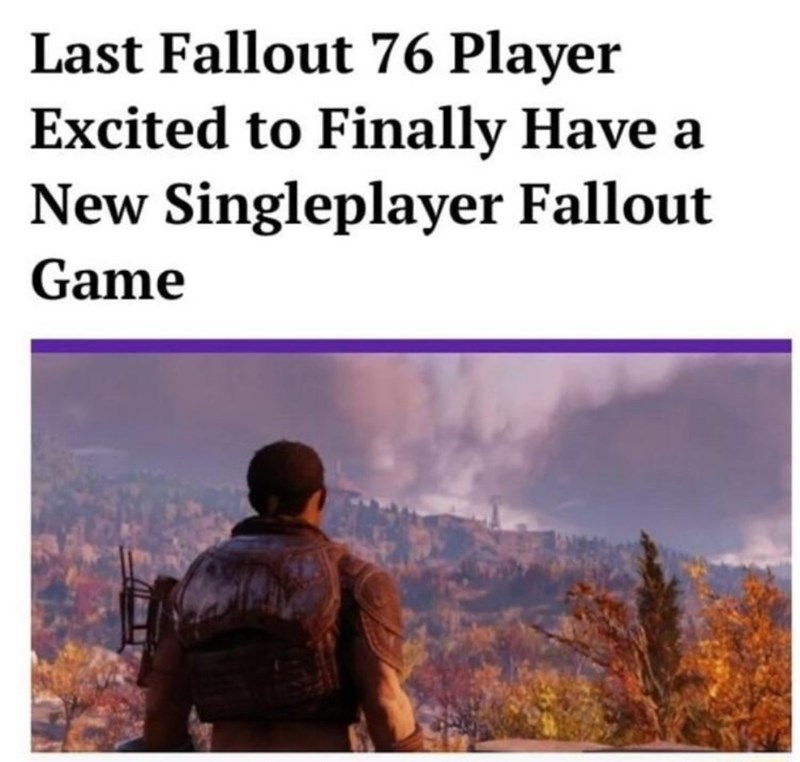 Text - Last Fallout 76 Player Excited to Finally Have New Singleplayer Fallout Game