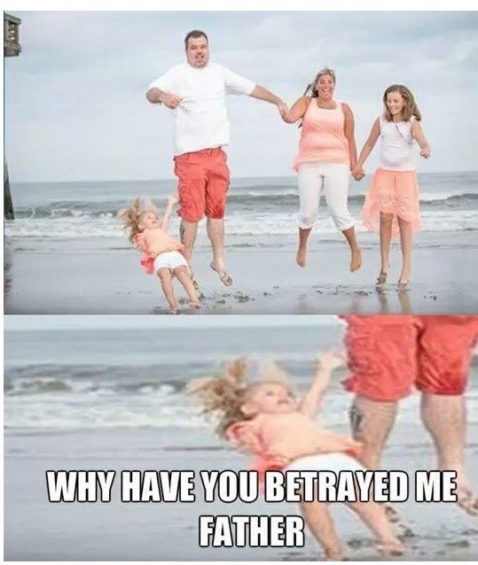 People on beach - WHY HAVE YOU BETRAYED ME FATHER