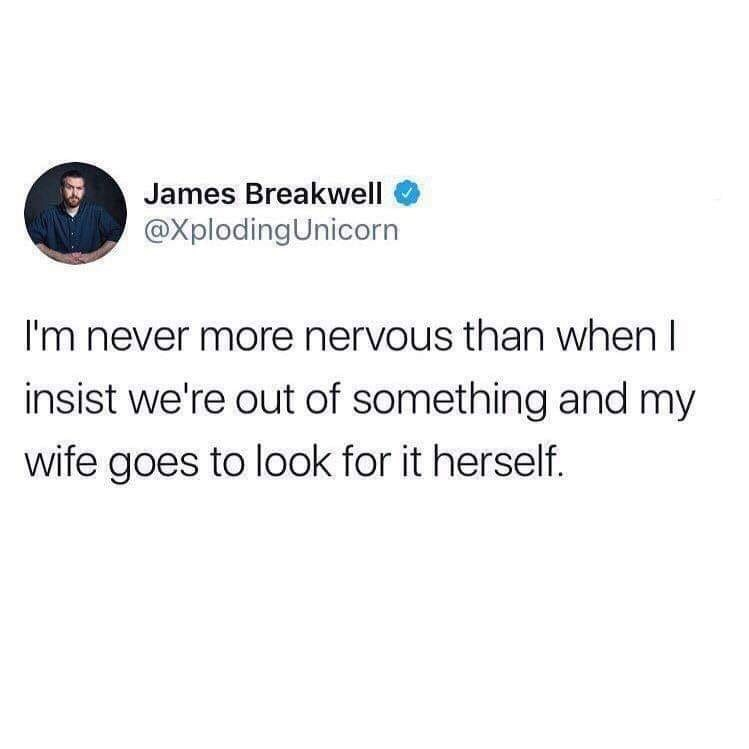 Text - James Breakwell @XplodingUnicorn I'm never more nervous than when I insist we're out of something and my wife goes to look for it herself.