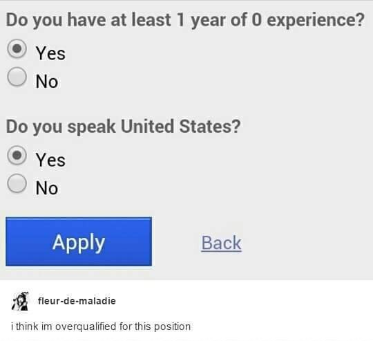 Text - Do you have least 1 year of 0 experience? Yes No Do you speak United States? Yes No Apply Back fleur-de-maladie i think im overqualified for this position