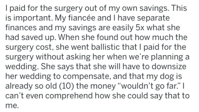 """Text - I paid for the surgery out of my own savings. This is important. My fiancée and I have separate finances and my savings are easily 5x what she had saved up. When she found out how much the surgery cost, she went ballistic that I paid for the surgery without asking her when we're planning a wedding. She says that she will have to downsize her wedding to compensate, and that my dog is already so old (10) the money """"wouldn't go far."""" can't even comprehend how she could say that to me."""