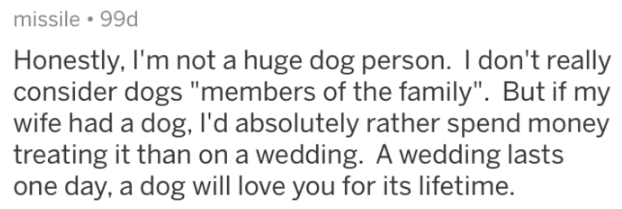 """Text - missile 99d Honestly, I'm not a huge dog person. I don't really consider dogs """"members of the family"""". But if my wife had a dog, l'd absolutely rather spend money treating it than on a wedding. A wedding lasts one day, a dog will love you for its lifetime."""