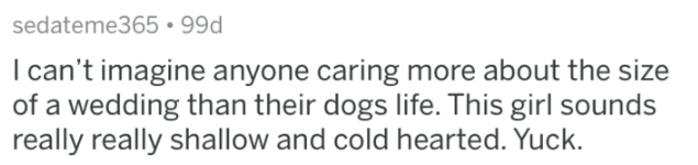 Text - sedateme365 99d I can't imagine anyone caring more about the size of a wedding than their dogs life. This girl sounds really really shallow and cold hearted. Yuck