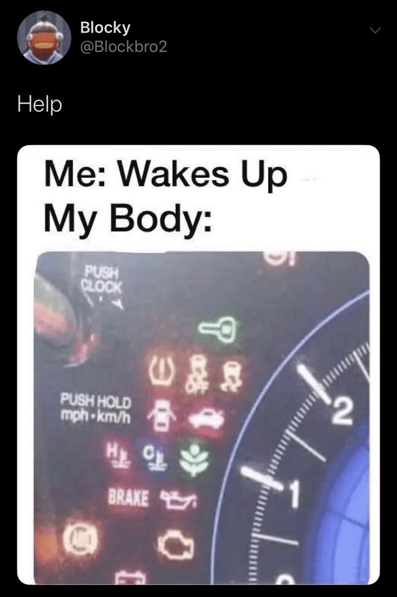 Technology - Blocky @Blockbro2 Help Me: Wakes Up My Body: PUSH CLOCK $2 PUSH HOLD mph-km/h BRAKE