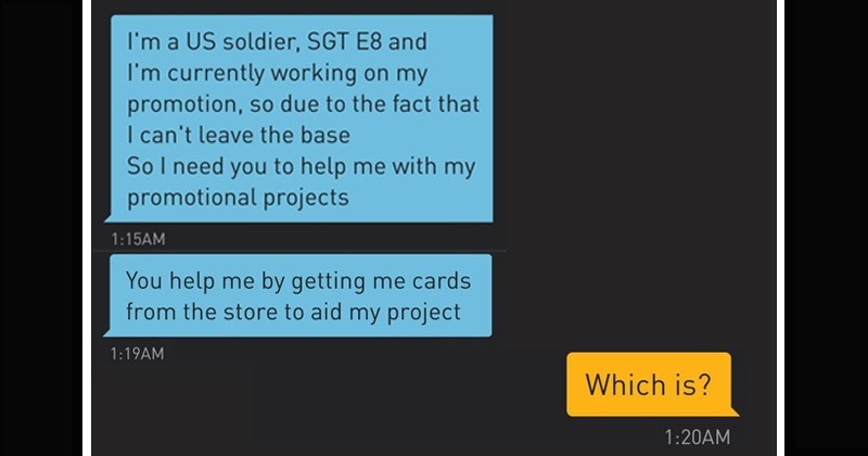 Funny story about a scammer pretending to be in the military