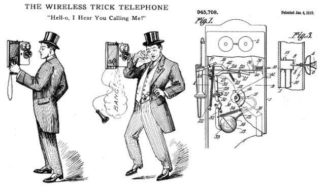 "Cartoon - THE WIRELESS TRICK TELEPHONE 945,708. Pabeetad Jan4 1910 ""Hell-o, I Hear You Calling Me! Figs"