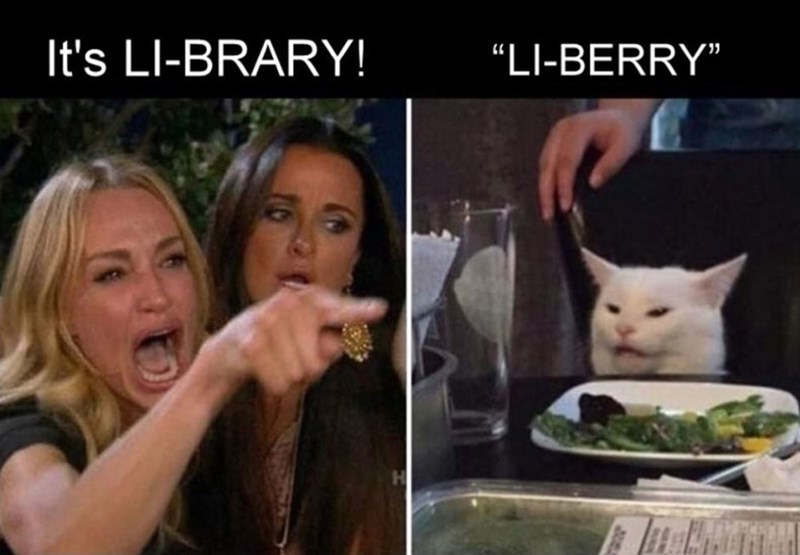 "Cat - It's LI-BRARY! ""LI-BERRY"""