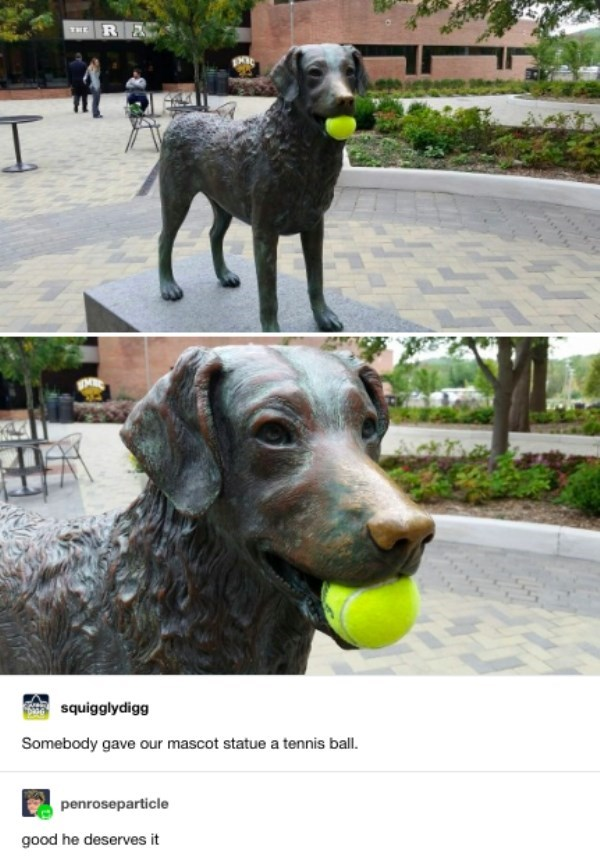 Dog - R& THE squigglydigg Somebody gave our mascot statue a tennis ball. penroseparticle good he deserves it