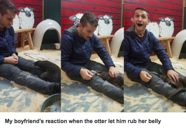 Leather - My boyfriend's reaction when the otter let him rub her belly