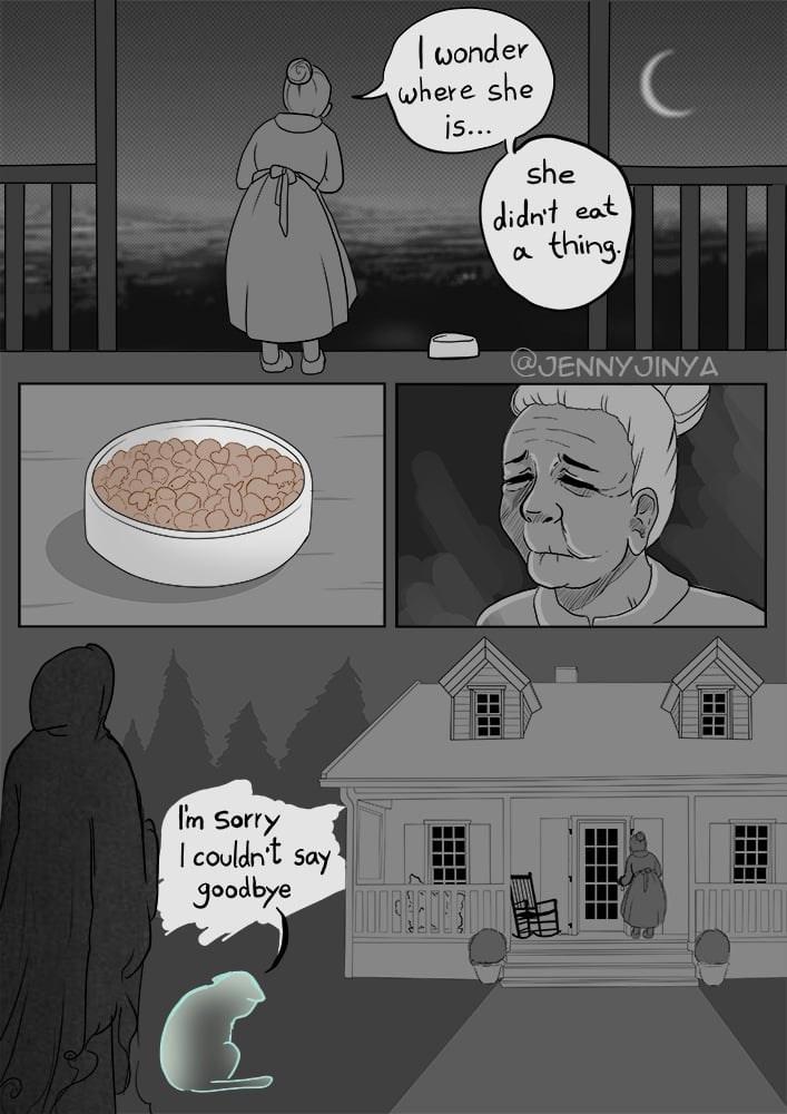 Cartoon - wonder where she is... she didn't eat thing @JENNYJINYA Tm Sorry I couldn't say goodbye