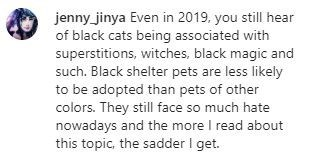 Text - jenny_jinya Even in 2019, you still hear of black cats being associated with superstitions, witches, black magic and such. Black shelter pets are less likely to be adopted than pets of other colors. They still face so much hate nowadays and the more I read about this topic, the sadder I get.