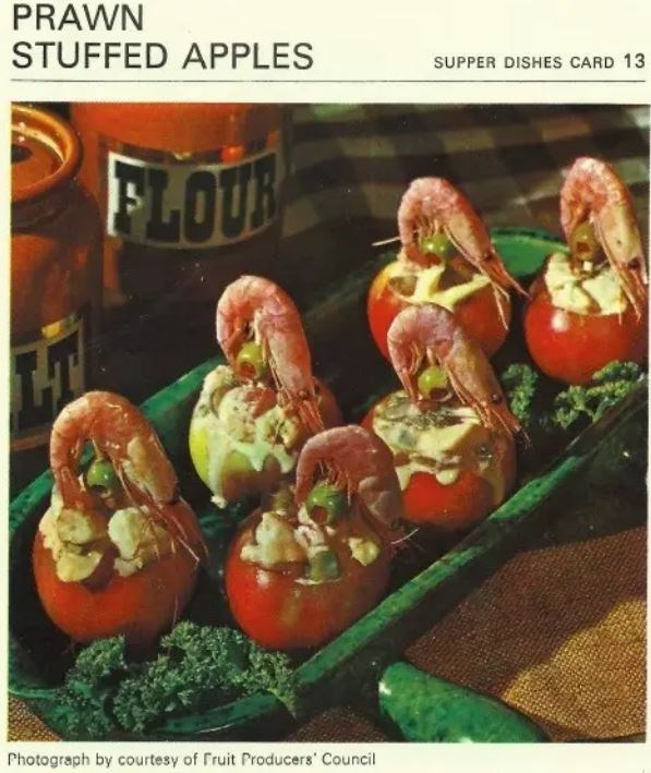 Food - PRAWN STUFFED APPLES SUPPER DISHES CARD 13 FLOUB Photograph by courtesy of Fruit Producers' Council