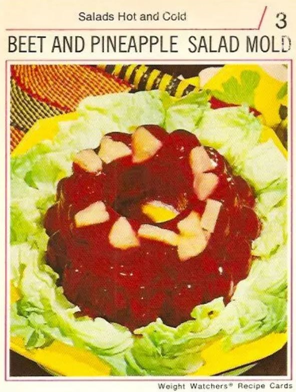 Dish - 3 BEET AND PINEAPPLE SALAD MOLD Salads Hot and Cold Weight Watchers Recipe Cards