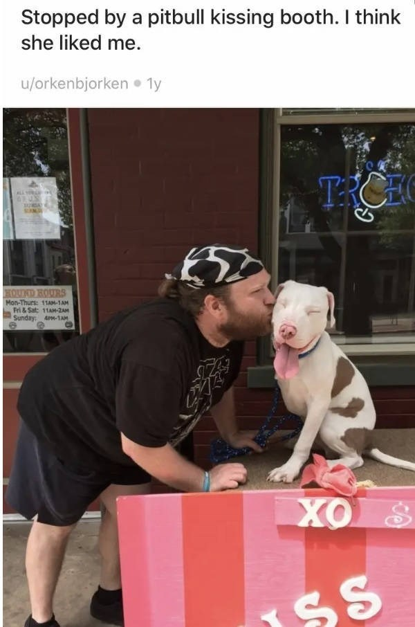 Canidae - Stopped by a pitbull kissing booth. I think she liked me u/orkenbjorken 1y ALL YRL HOUD HOURS Mon-Thurs: 11AM-1AM Fri & Sat: 11AM-2AM Sunday 4m-1aAM SS