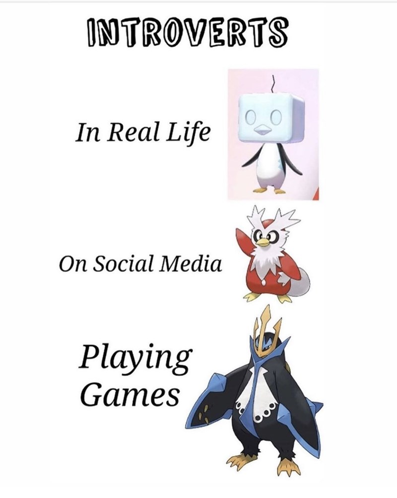 Cartoon - INTROVERTS In Real Life On Social Media Playing Games