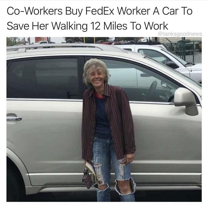 Vehicle door - Co-Workers Buy FedEx Worker A Car To Save Her Walking 12 Miles To Work @tanksgoodnews