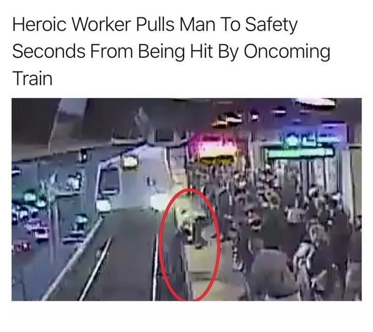 Transport - Heroic Worker Pulls Man To Safety Seconds From Being Hit By Oncoming Train