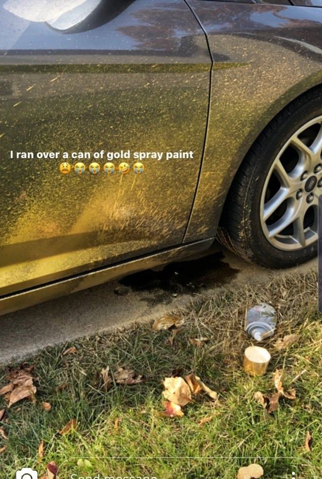 Alloy wheel - I ran over a can of gold spray paint