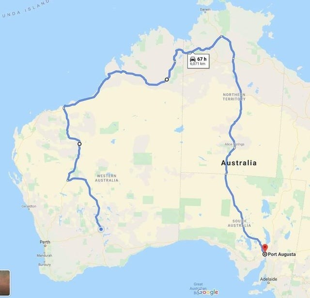 Map - Darwin UNDA ISLAN 67 h 6.071 km NORTHE N TERRITORY Alice Sorings Australia WESTERN AUSTRALIA Geraldton SOU H AUSTRALIA Perth o O Port Augusta Mandurah Bunbury Adelaide Great Austran 8Google