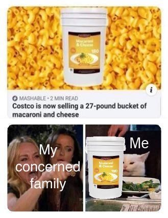 Product - Macan &Chiese O MASHABLE 2 MIN READ Costco is now selling a 27-pound bucket of macaroni and cheese Me My concerned family Mararei B Che