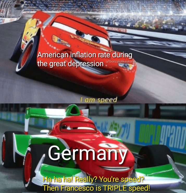 Race track - American inflation rate during the great depression u/Gonzalolikeskaiya I am speed Germany Ha ha hal Really? You're speed? Then Francesco is TRIPLE speed!