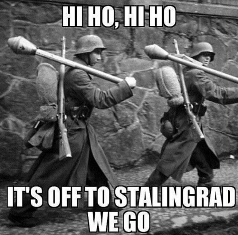 Photo caption - НI НО, НІ НО IT'S OFF TO STALINGRAD WE GO