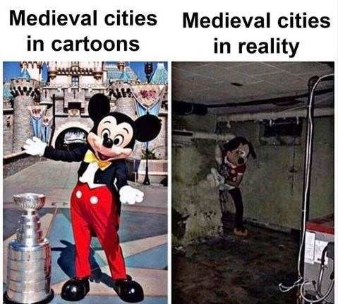 Animated cartoon - Medieval cities Medieval cities in cartoons in reality