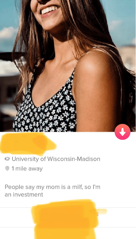 Clothing - University of Wisconsin-Madison 1 mile away People say my mom is a milf, so I'm an investment