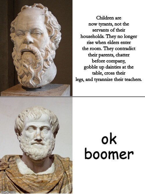Funny 'OK Boomer' meme from Ancient Greece
