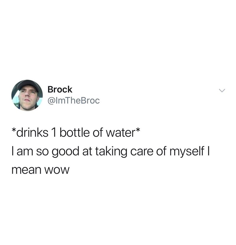 Text - Brock @ImTheBroc *drinks 1 bottle of water* I am so good at taking care of myself I mean woW