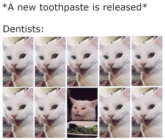 Cat - *A new toothpaste is released* Dentists: