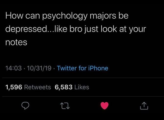 Text - How can psychology majors be depressed...like bro just look at your notes 14:03 10/31/19 Twitter for iPhone 1,596 Retweets 6,583 Likes