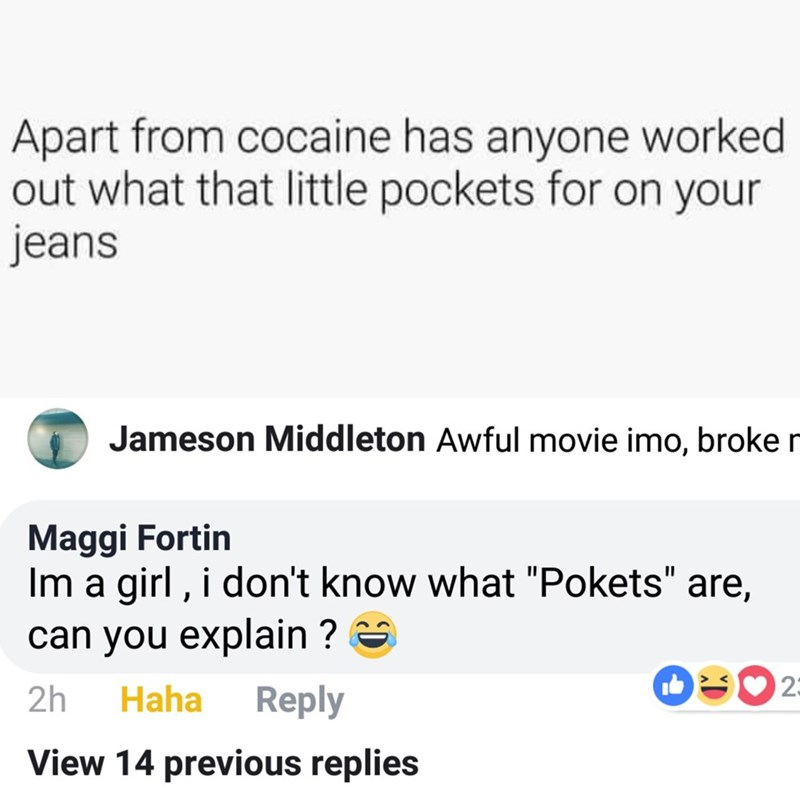 """Text - Apart from cocaine has anyone worked out what that little pockets for on your jeans Jameson Middleton Awful movie imo, broker Maggi Fortin Im a girl, i don't know what """"Pokets"""" are, can you explain? 23 2h Reply Haha View 14 previous replies"""