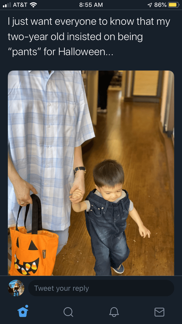 "Product - AT&T 8:55 AM 7 86% just want everyone to know that my two-year old insisted on being ""pants"" for Halloween... Tweet your reply"