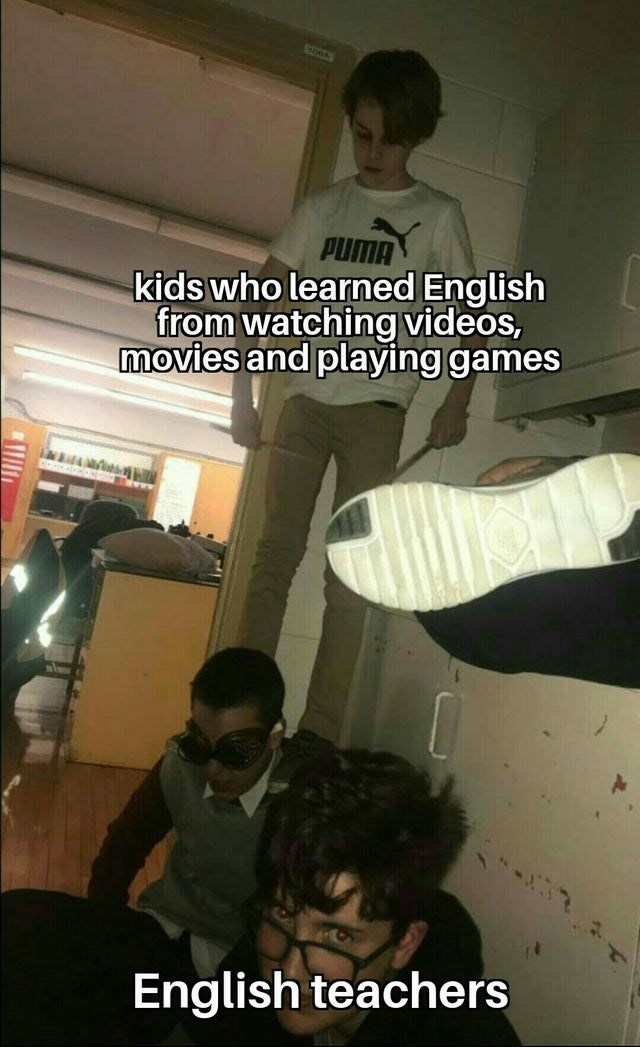 Photo caption - TA PUMA kids who learned English from watching videos, movies and playing games English teachers