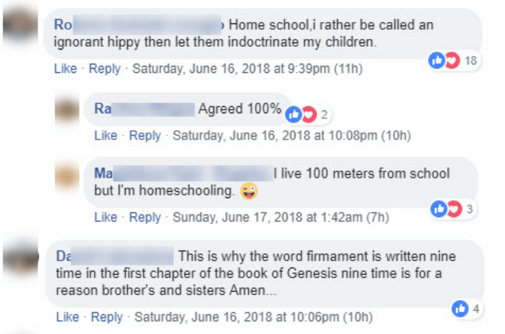 Text - Home school i rather be called an Ro ignorant hippy then let them indoctrinate my children. 18 Like Reply Saturday, June 16, 2018 at 9:39pm (11h) | Agreed 100% Ra 2 Like Reply Saturday, June 16, 2018 at 10:08pm (10h) Ma but I'm homeschooling Like Reply Sunday, June 17, 2018 at 1:42am (7h) I live 100 meters from school Da This is why the word firmament is written nine time in the first chapter of the book of Genesis nine time is for a reason brother's and sisters Amen.. 4 Like Reply Saturd