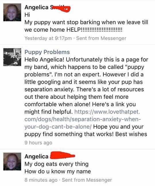 """Text - Angelica S Hi My puppy want stop barking when we leave till we come home HELP!!!!!! Yesterday at 9:17pm Sent from Messenger !!!! Puppy Problems Hello Angelica! Unfortunately this is a page for my band, which happens to be called """"puppy problems"""". I'm not an expert. However I did a little googling and it seems like your pup has separation anxiety. There's a lot of resources out there about helping them feel more comfortable when alone! Here's a link you might find helpful. https://www.love"""