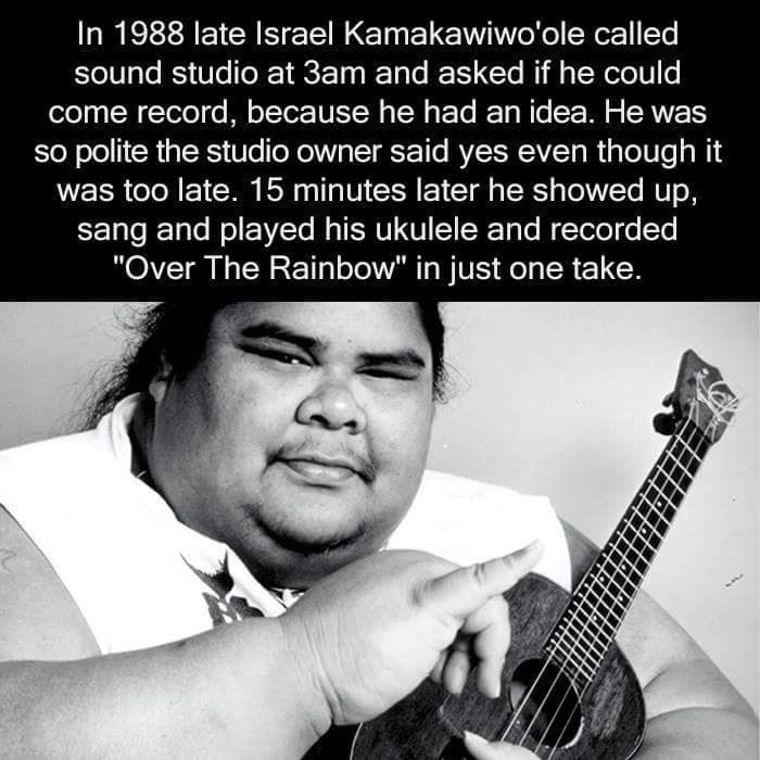 """Guitar - In 1988 late Israel Kamakawiwo'ole called sound studio at 3am and asked if he could come record, because he had an idea. He was so polite the studio owner said yes even though it was too late. 15 minutes later he showed up, sang and played his ukulele and recorded """"Over The Rainbow"""" in just one take."""