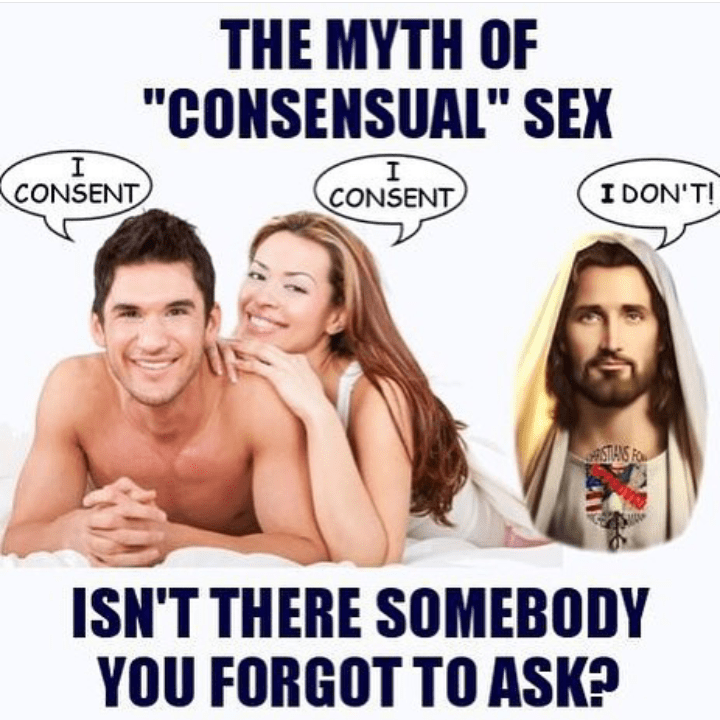 "Facial expression - THE MYTH OF ""CONSENSUAL"" SEX I CONSENT I I DON'T! CONSENT ASTIANS FO ISN'T THERE SOMEBODY YOU FORGOT TO ASK?"