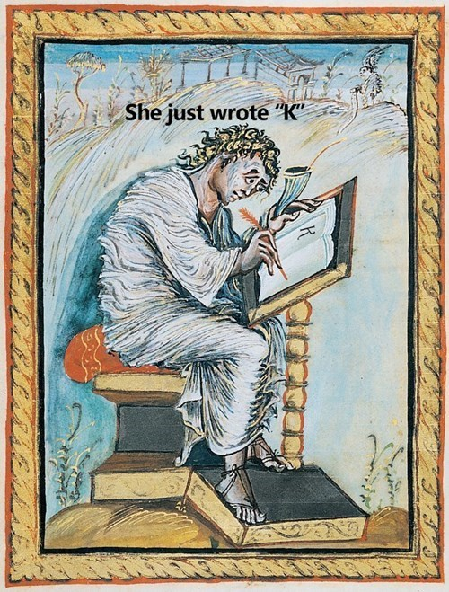 "Painting - She just wrote ""K"