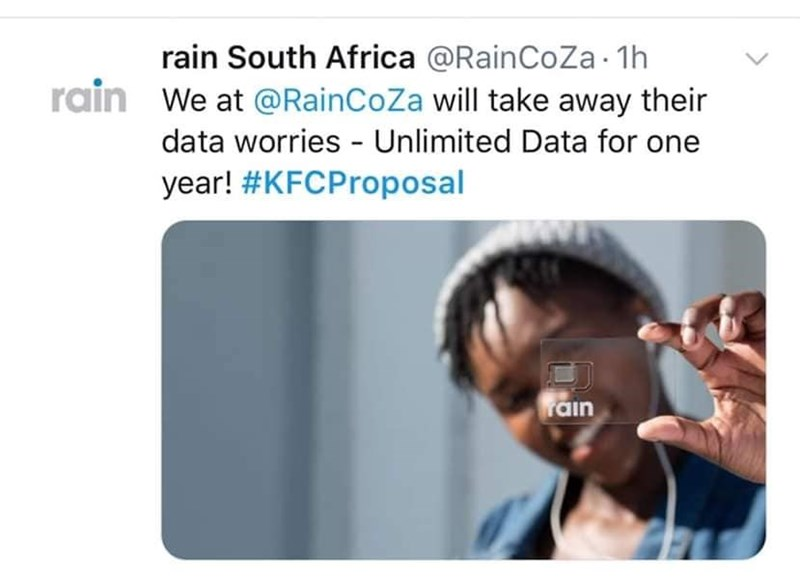 Text - rain South Africa @RainCoZa1h rain We at @RainCoZa will take away their data worries Unlimited Data for one year! #KFCProposal rain