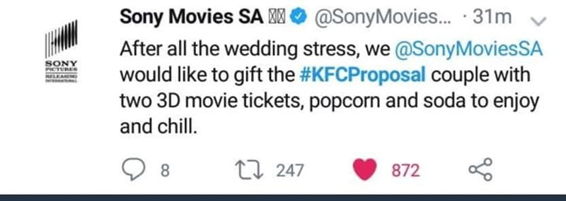 Text - Sony Movies SA @SonyMovies... 31m After all the wedding stress, we @Sony Movies SA would like to gift the #KFCProposal couple with two 3D movie tickets, popcorn and soda to enjoy SONY PICTURES RELEANE and chill. 8 t247 872