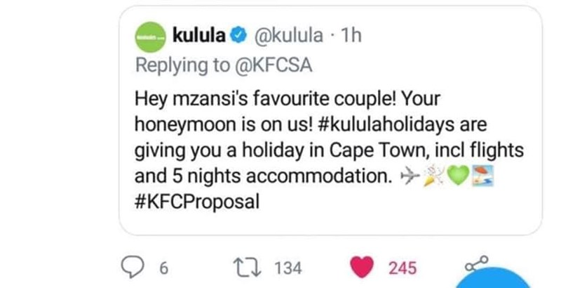 Text - kulula @kulula 1h Replying to @KFCSA Hey mzansi's favourite couple! Your honeymoon is on us! #kululaholidays are giving you a holiday in Cape Town, incl flights and 5 nights accommodation #KFCProposal 6 t 134 245